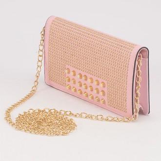КОД : F902 Дамски портфейл/чанта от плътна и висококачествена еко кожа в розов цвят