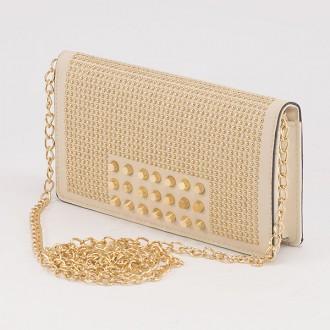 КОД : F902 Дамски портфейл/чанта от плътна и висококачествена еко кожа в цвят априкот