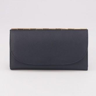 КОД : A121 Дамски портфейл от плътна и висококачествена еко кожа в син цвят - голям размер