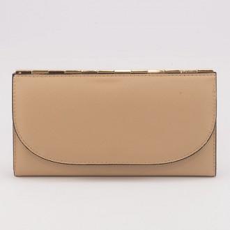 КОД : A121 Дамски портфейл от плътна и висококачествена еко кожа в цвят априкот - голям размер