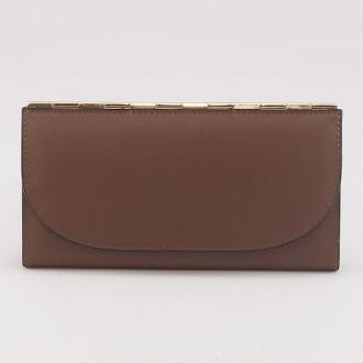 КОД : A121 Дамски портфейл от плътна и висококачествена еко кожа в кафяв цвят - голям размер