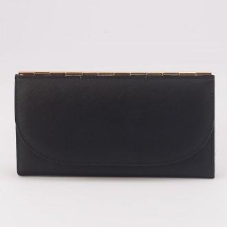 КОД : A121 Дамски портфейл от плътна и висококачествена еко кожа в черен цвят - голям размер