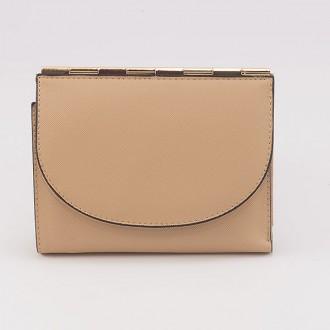 КОД : A122 Дамски портфейл от плътна и висококачествена еко кожа в цвят априкот