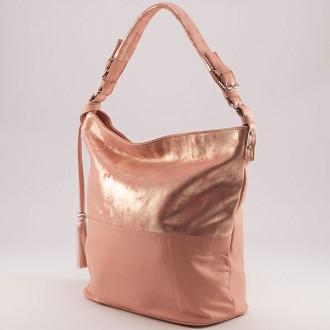 КОД : 0083 Дамска чанта тип торба от естествена кожа с блясък в розов цвят