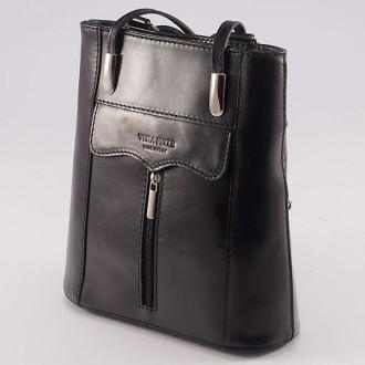 КОД : 0108 Дамска чанта / раница от естествена кожа в черен цвят