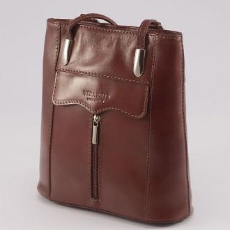 КОД : 0108 Дамска чанта / раница от естествена кожа в кафяв цвят