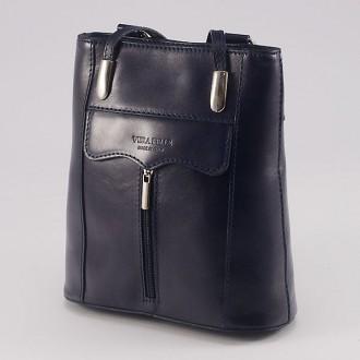 КОД : 0108 Дамска чанта / раница от естествена кожа в тъмносин цвят