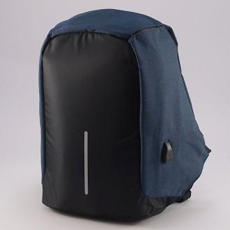 КОД : 1701 Раница от промазан плат в син цвят