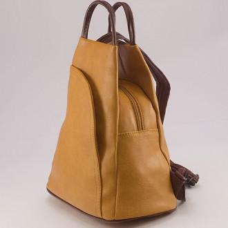 КОД: 3500 Дамска раница от плътна и висококачествена еко кожа в жълт цвят