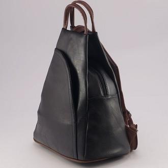 КОД: 3500 Дамска раница от плътна и висококачествена еко кожа в черен цвят