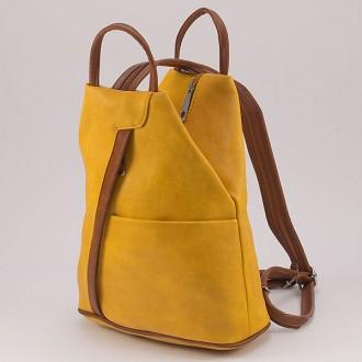 КОД: 3490 Дамска раница/чанта от плътна и висококачествена еко кожа в жълт цвят