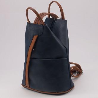 КОД: 3490 Дамска раница/чанта от плътна и висококачествена еко кожа в тъмносин цвят