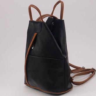 КОД: 3490 Дамска раница/чанта от плътна и висококачествена еко кожа в черен цвят