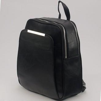 КОД: 9408 Дамска раница от плътна и висококачествена еко кожа в черен цвят