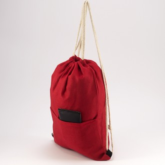 КОД : 0177 Раница тип мешка от текстил в червен цвят