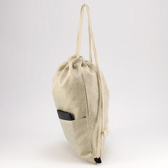 КОД : 0177 Раница тип мешка от текстил в светло бежов цвят