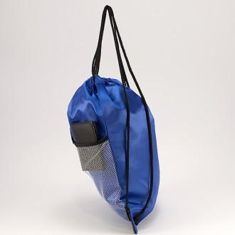 КОД : 0181 Раница тип мешка от текстил в син цвят