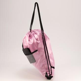 КОД : 0181 Раница тип мешка от текстил в розов цвят