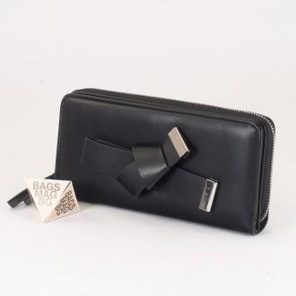 КОД : T188 Дамски портфейл от плътна и висококачествена еко кожа в черен цвят