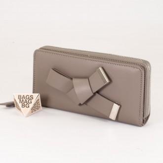 КОД : T188 Дамски портфейл от плътна и висококачествена еко кожа в сив цвят