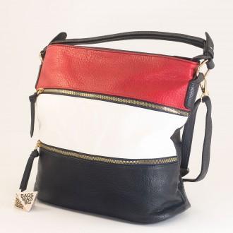 КОД : 8927 Дамска чанта от плътна и висококачествена еко кожа в син цвят - трицветна
