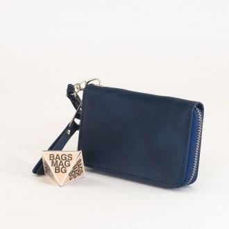 КОД : Y108 Дамски портфейл от плътна и висококачествена еко кожа в син цвят