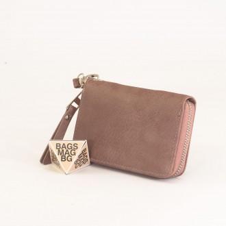 КОД : Y109 Дамски портфейл от плътна и висококачествена еко кожа в цвят каки