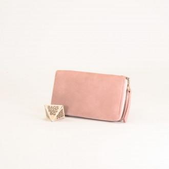 КОД : Y109 Дамски портфейл от плътна и висококачествена еко кожа в розов цвят