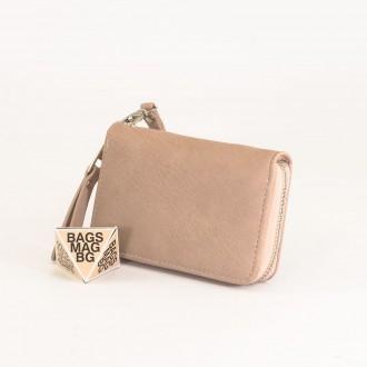 КОД : Y109 Дамски портфейл от плътна и висококачествена еко кожа в цвят априкот