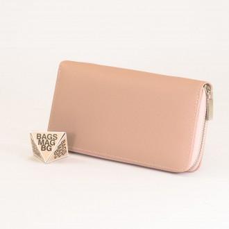КОД : Y110 Дамски портфейл от плътна и висококачествена еко кожа в цвят априкот