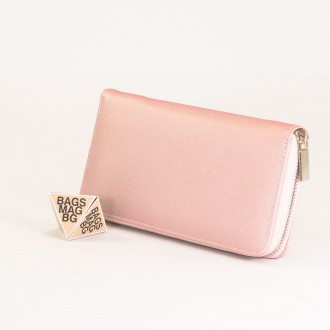 КОД : Y110 Дамски портфейл от плътна и висококачествена еко кожа в светло розов цвят