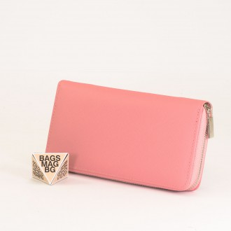 КОД : Y110 Дамски портфейл от плътна и висококачествена еко кожа в розов цвят