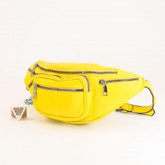 КОД : Z610 Дамска паласка от еко кожа в жълт цвят