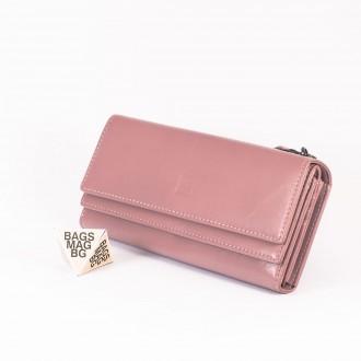 КОД : D630 Дамски портфейл от плътна и висококачествена еко кожа в розов цвят