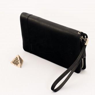 КОД : D855 Портфейл от плътна и висококачествена еко кожа в черен цвят