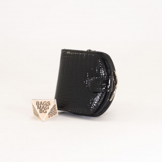 КОД : 00215 Дамски портфейл от естествена кожа с лаково покритие в черен цвят