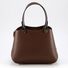 КОД : 0005 Дамска чанта от два вида естествена кожа в кафяв цвят