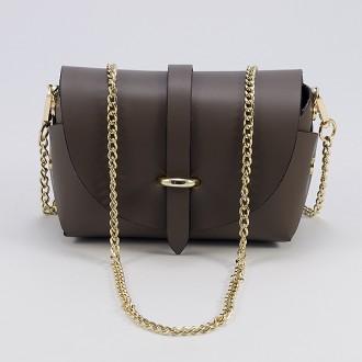 КОД : 0007 Малка дамска чанта от естествена кожа в сиво-кафяв цвят