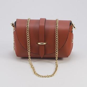 КОД : 0007 Малка дамска чанта от естествена кожа в керемиден цвят