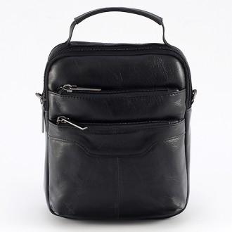 КОД : 344 Мъжка чанта от естествена кожа в черен цвят