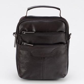 КОД : 344 Мъжка чанта от естествена кожа в кафяв цвят