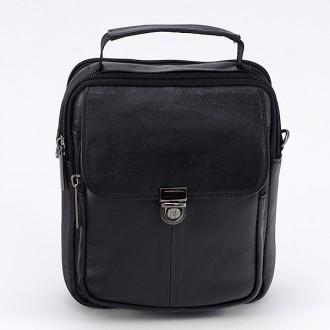 КОД : 332 Мъжка чанта от естествена кожа в черен цвят