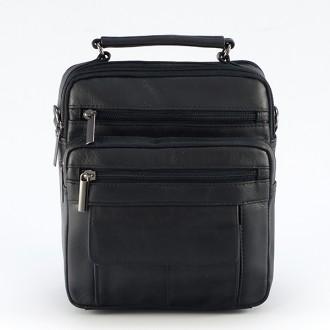 КОД : 7505 Мъжка чанта от естествена кожа в черен цвят