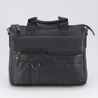 КОД : 8080 Мъжка чанта от естествена кожа в черен цвят