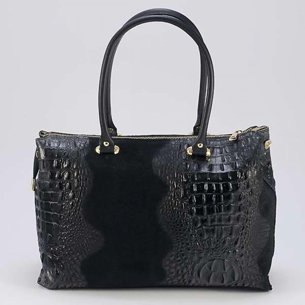 КОД : 0014 Дамска чанта от естествен велур с крокодилска щампа в черен цвят