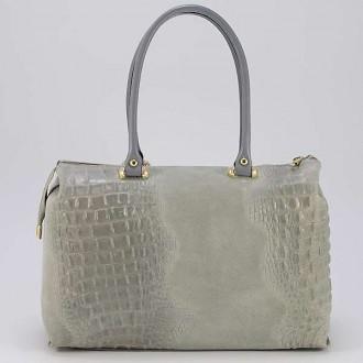 КОД : 0014 Дамска чанта от естествен велур с крокодилска щампа в сив цвят
