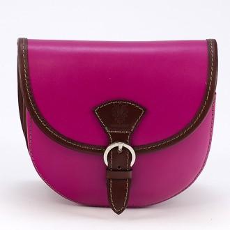 КОД : 0015 Малка дамска чанта от естествена кожа в цвят циклама с кафяво