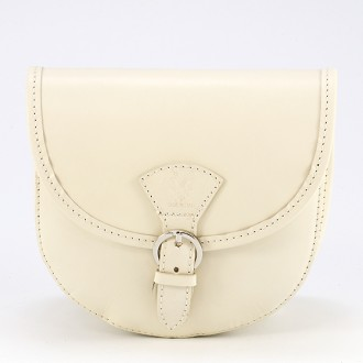КОД : 0015 Малка дамска чанта от естествена кожа в светло бежов цвят