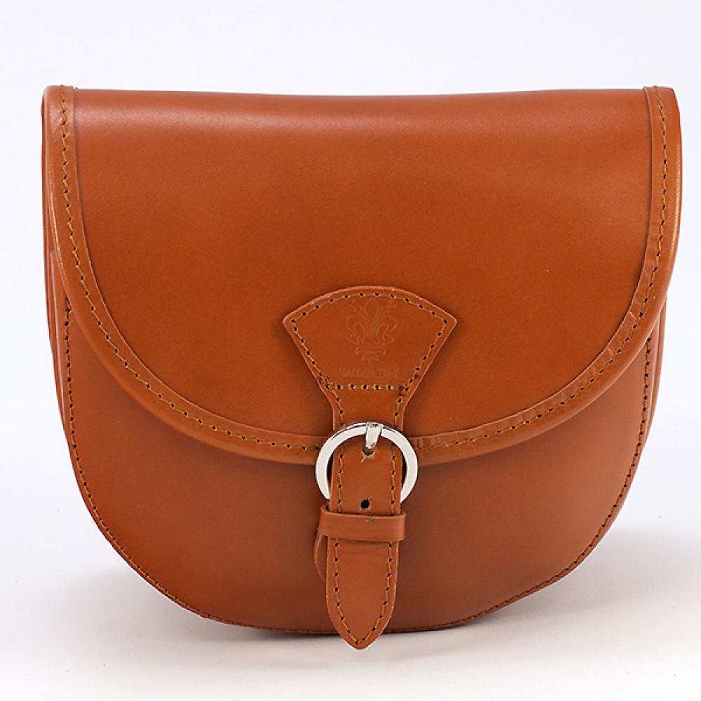 КОД : 0015 Малка дамска чанта от естествена кожа в цвят тиква