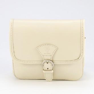 КОД : 0016 Малка дамска чанта от естествена кожа в светло бежов цвят